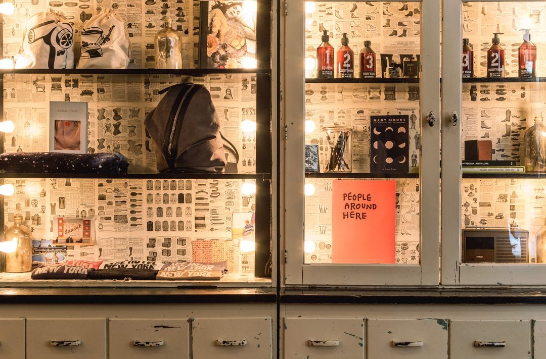 Cabinets featuring Ace Hotel merchandise
