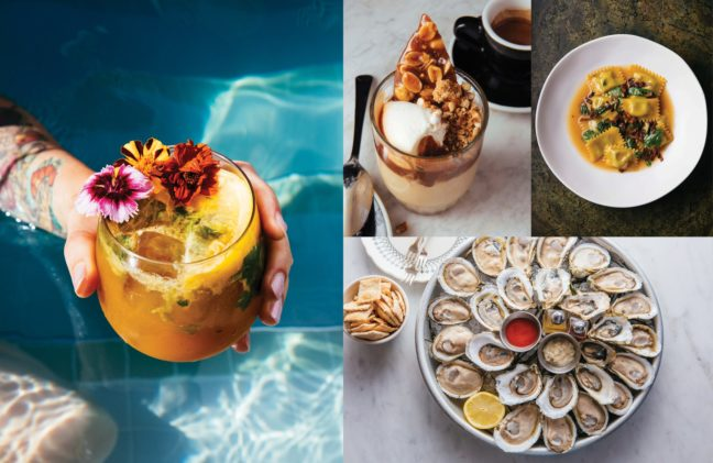 Multiple photos of food, drinks, and dessert