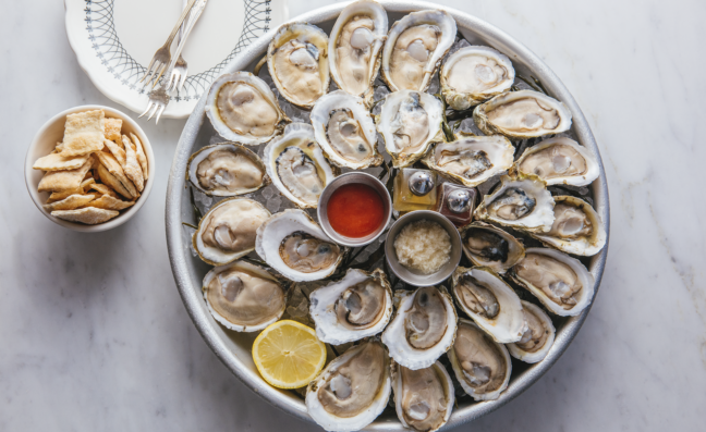 Oysters arranged in a bowl