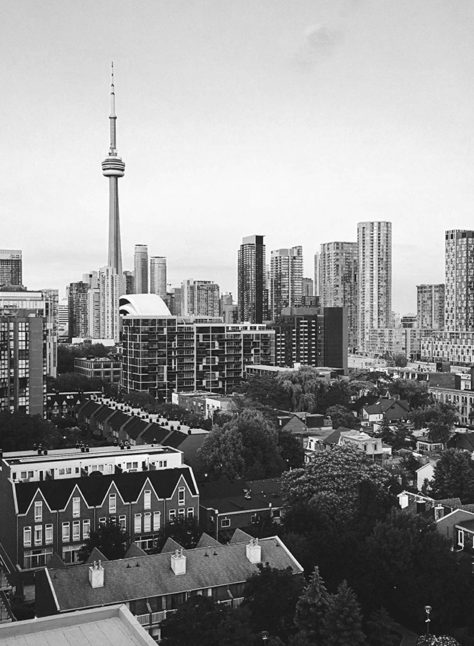 Black and white view of the city